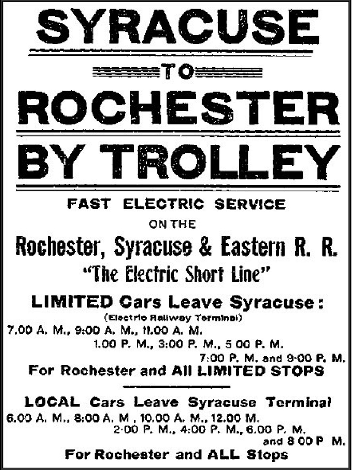syracuserochesterelectriccarposter
